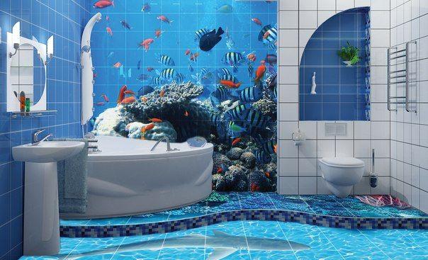 Дизайн ванной с рисунком фото